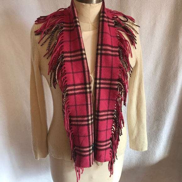 Burberry double fringe raspberry pink scarf